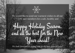 we would like to send our warmest wishes to all our members for a safe, healthy and happy Holiday Season, and all the best for the New Year ahead. We look forward to seeing you in the new year of 2021!